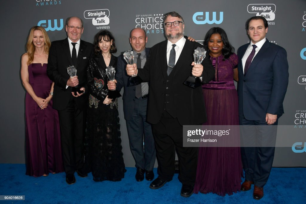 Screenwriter Vanessa Taylor, actors Richard Jenkins, Sally Hawkins, producer J. Miles Dale, director Guillermo del Toro, actors Octavia Spencer and Michael Stuhlbarg, pose with the Best Picture award for 'The Shape of Water' in the press room during The 23rd Annual Critics' Choice Awards at Barker Hangar on January 11, 2018 in Santa Monica, California.