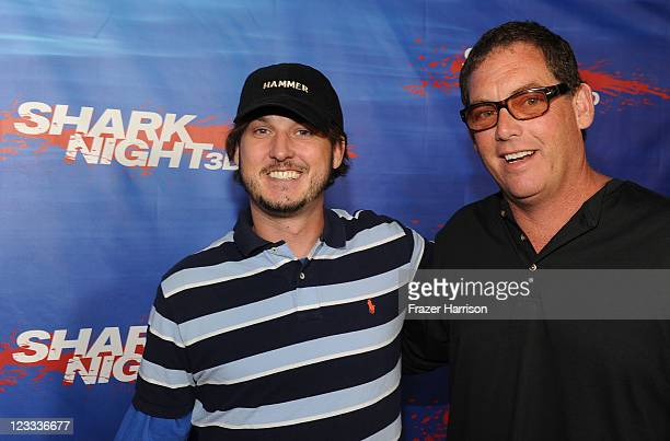 Screenwriter Will Hayes and producer Mike Fleiss arrive at Shark Night screening at Universal CityWalk on September 1 2011 in Universal City...