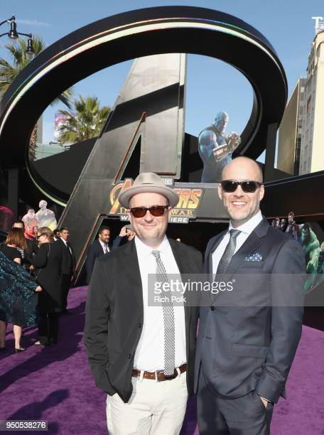 Screenwriters Christopher Markus and Stephen McFeely attend the Los Angeles Global Premiere for Marvel Studios' Avengers Infinity War on April 23...