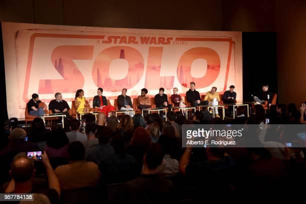 Screenwriters Jon Kasdan and Lawrence Kasdan, actors Thandie Newton, Phoebe Waller-Bridge, Woody Harrelson, Donald Glover, Alden Ehrenreich, Emilia...