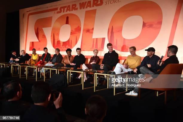 Screenwriters Jon Kasdan and Lawrence Kasdan actors Thandie Newton Phoebe WallerBridge Woody Harrelson Donald Glover Alden Ehrenreich Emilia Clarke...