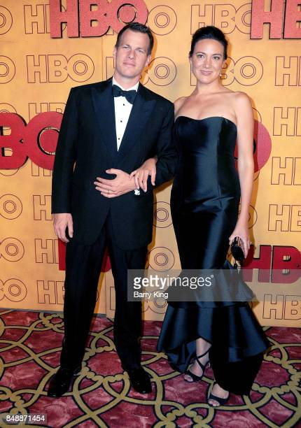 Screenwriters Jonathan Nolan and Lisa Joy attend HBO's Post Emmy Awards Reception at The Plaza at the Pacific Design Center on September 17 2017 in...