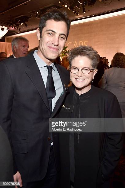 Screenwriters Josh Singer and Phyllis Nagy attend the 88th Annual Academy Awards nominee luncheon on February 8 2016 in Beverly Hills California