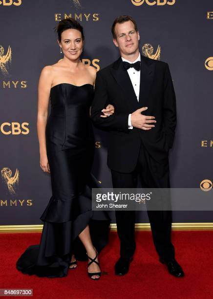 Screenwriters Lisa Joy and Jonathan Nolan attend the 69th Annual Primetime Emmy Awards at Microsoft Theater on September 17 2017 in Los Angeles...
