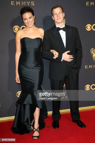 Screenwriters Lisa Joy and Jonathan Nolan attend the 69th Annual Primetime Emmy Awards Arrivals at Microsoft Theater on September 17 2017 in Los...