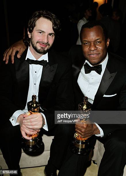 WEST HOLLYWOOD CA MARCH 07 *EXCLUSIVE* Screenwriters Mark Boal and Geoffrey Fletcher attend the 2010 Vanity Fair Oscar Party hosted by Graydon Carter...