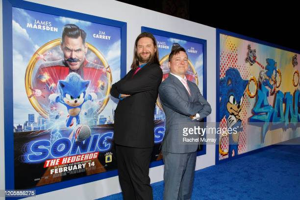 Screenwriters Pat Casey and Josh Miller attend a Sonic The Hedgehog Special Screening at the Regency Village Theatre on February 12 2020 in Westwood...