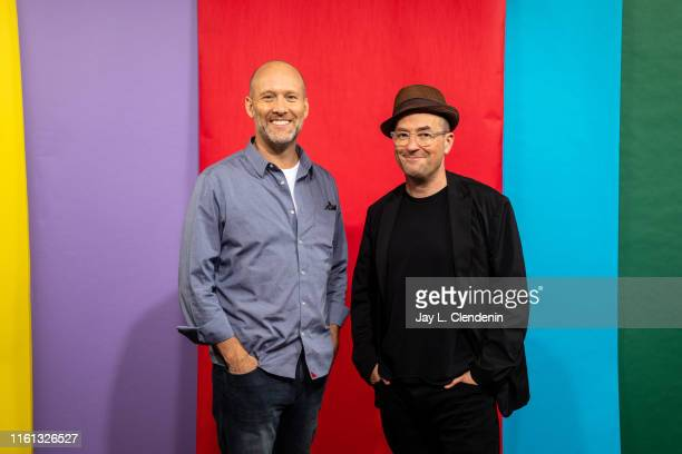 Screenwriters Stephen McFeely and Christopher Markus are photographed for Los Angeles Times at ComicCon International on July 19 2019 in San Diego...