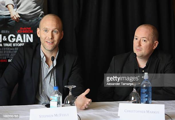 Screenwriters Stephen McFeely and Christopher Markus attend the press conference of the Miami Premiere of Pain Gain at Mandarin Oriental on April 11...