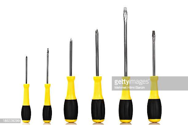 screwdrivers like a graph - screwdriver stock pictures, royalty-free photos & images