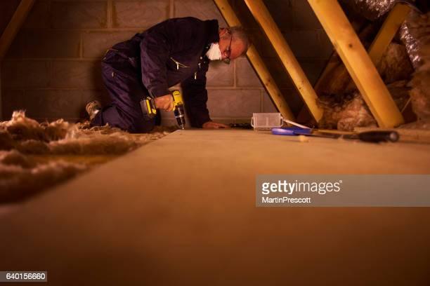 screwing down floorboard