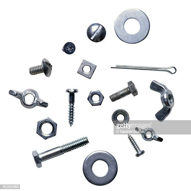 screws, nuts and bolts - nut fastener stock photos and pictures