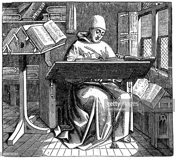 Scribe or copyist 15th century An engraving from The Arts of the Middle Ages and at the Period of the Renaissance by Paul Lacroix