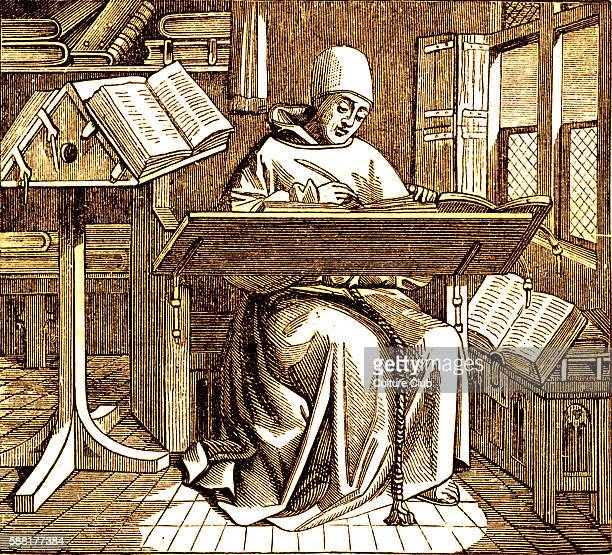 Scribe or copyist writing at his desk Reproduced from a fifteenth century miniature