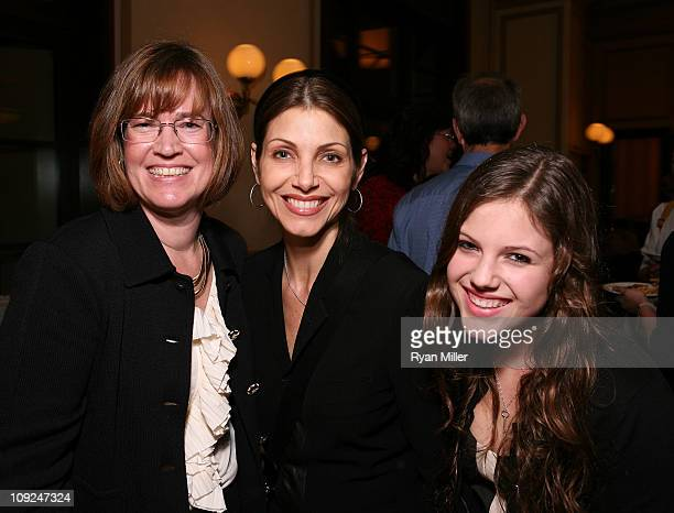 Scripps College President Lori BettisonVarga Malissa Shriver and Natasha Lee pose during the party for Scripps College Academy winning the 2010...
