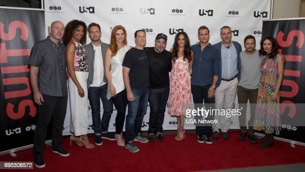 SUITS Script Reading Presented by USA Network Pictured Gene Klein Gina Torres Patrick J Adams Sarah Rafferty Aaron Korsh Rick Hoffman Meghan Markle...