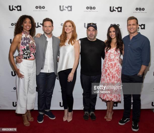 Script Reading Presented by USA Network -- Pictured: Gina Torres, Patrick J. Adams, Sarah Rafferty, Rick Hoffman, Meghan Markle, Gabriel Macht --