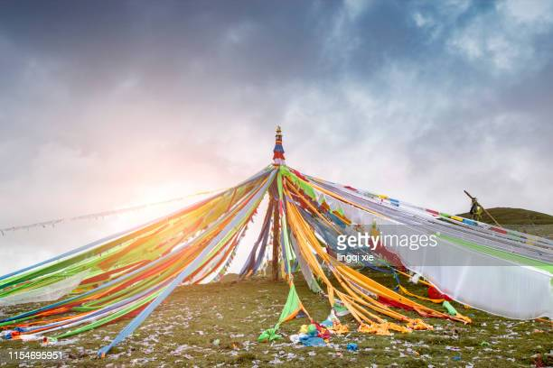 scripture on the grasslands of the qinghai-tibet plateau in western china - tibetan culture stock pictures, royalty-free photos & images