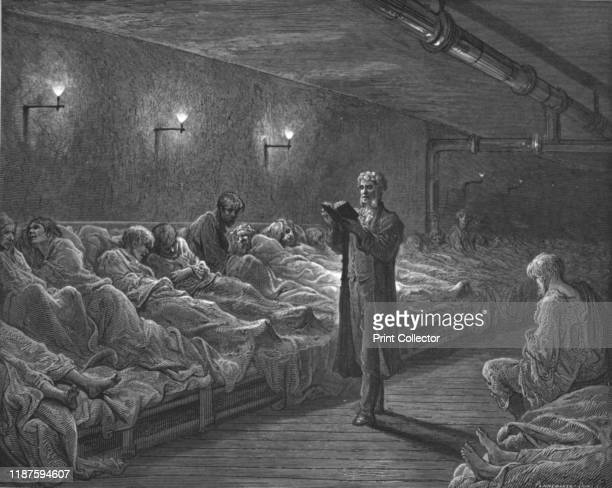 """Scripture Reader in a Night Refuge', 1872. A man reads the bible in a night shelter dormitory. From, """"LONDON. A Pilgrimage"""" by Gustave Dore and..."""