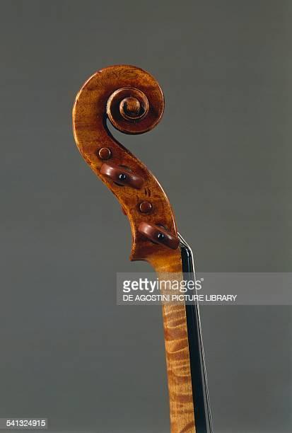 Scroll detail of a violin by Antonio Stradivari Italy 18th century Cremona Civica Collezione Dei Violini Palazzo Comunale