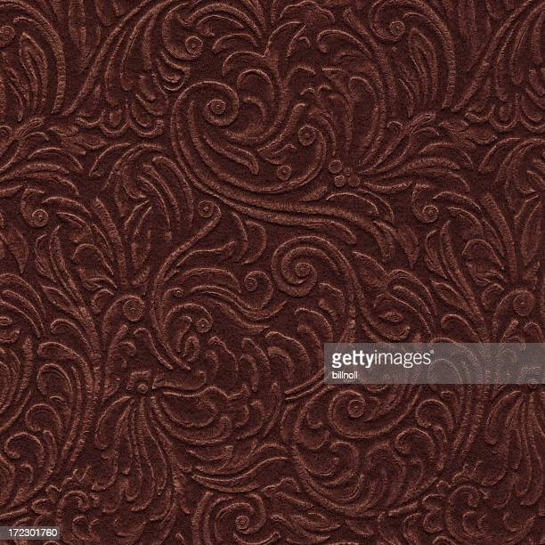 scroll engraved on vintage leather background texture - art nouveau stock pictures, royalty-free photos & images