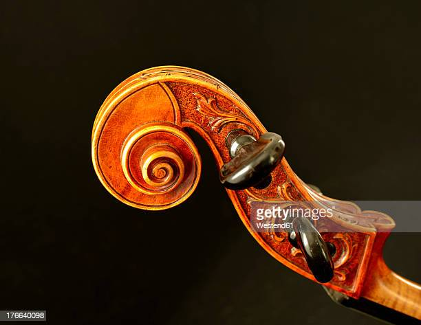 Scroll of cello against black background, close up
