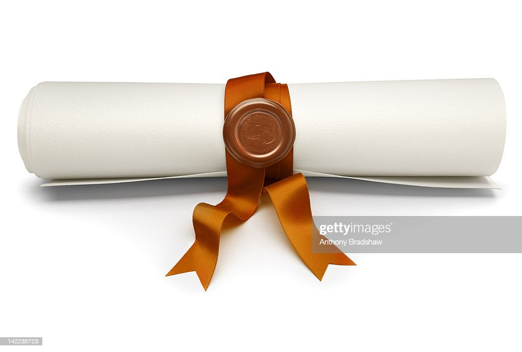 scroll with gold ribbon and seal ストックフォト getty images