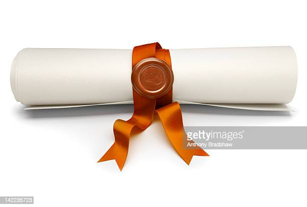 Scroll with gold ribbon and seal