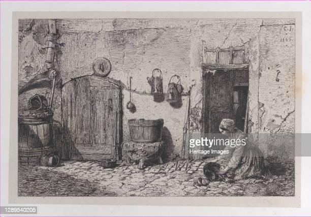 Scrubbing Woman, 1844. Artist Charles Emile Jacque.