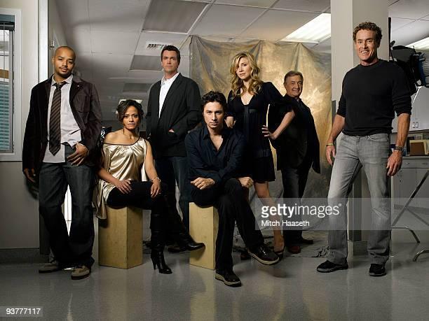 "Scrubs"" stars Donald Faison as ""Chris Turk,"" Judy Reyes as ""Nurse Carla Espinosa,"" Neil Flynn as ""The Janitor,"" Zach Braff as ""John 'J.D.' Dorian,""..."