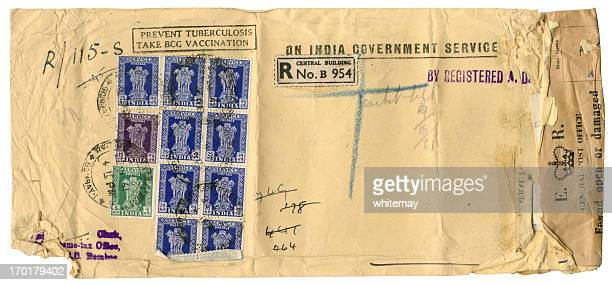 scruffy official envelope from india - british india stock photos and pictures