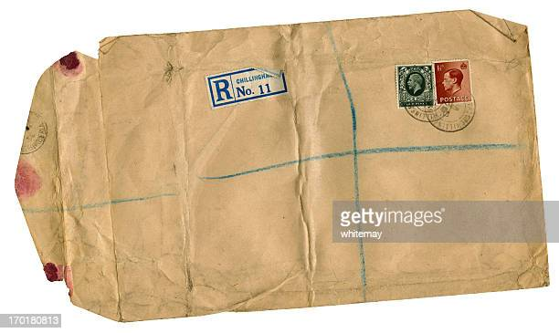 scruffy old british registered envelope from 1936 - answering stock pictures, royalty-free photos & images