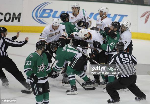 A scrum breaks out in the first period as the Anaheim Ducks visit the Dallas Stars in Game 4 of a Western Conference quarterfinal at American...