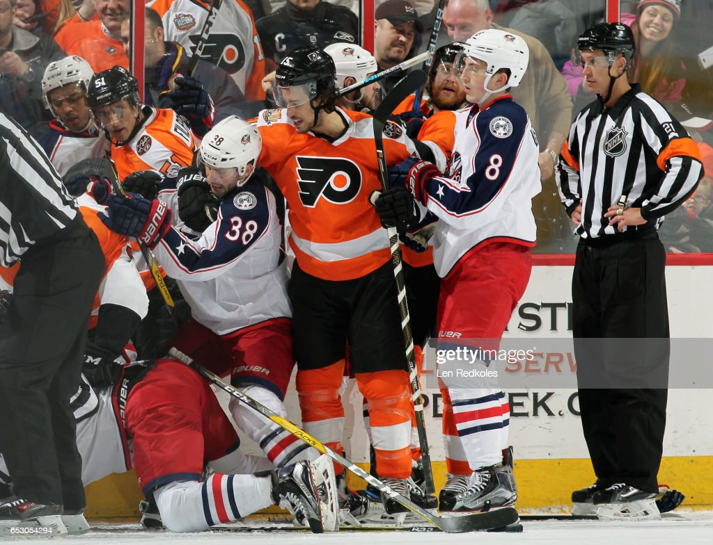A scrum breaks out in the second period involving several members of both the Philadelphia Flyers and the Columbus Blue Jackets on March 13, 2017 at the Wells Fargo Center in Philadelphia, Pennsylvania. The Blue Jackets went on to defeat the Flyers 5-3.