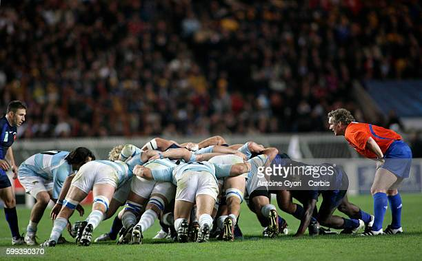 Scrum during the IRB World Cup rugby bronze final between France and Argentina.