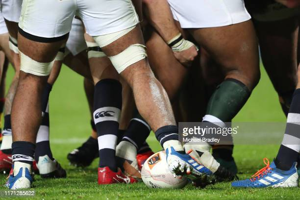 A scrum during the round Mitre 10 Cup Round 4 match between Waikato v Auckland at FMG Stadium on August 31 2019 in Hamilton New Zealand