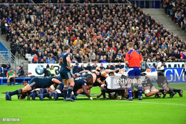 A scrum during the test match between France and New Zealand at Stade de France on November 11 2017 in Paris France