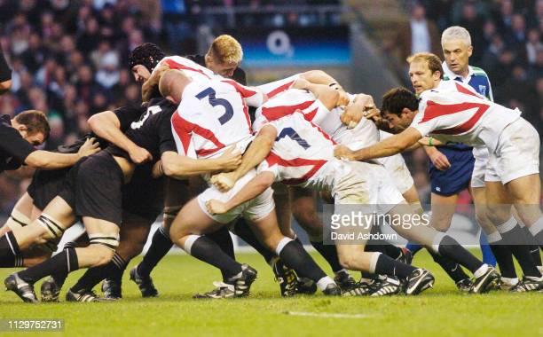 Scrum England v New Zealand Rugby Union international at Twickenham Stadium 18th November 2005.