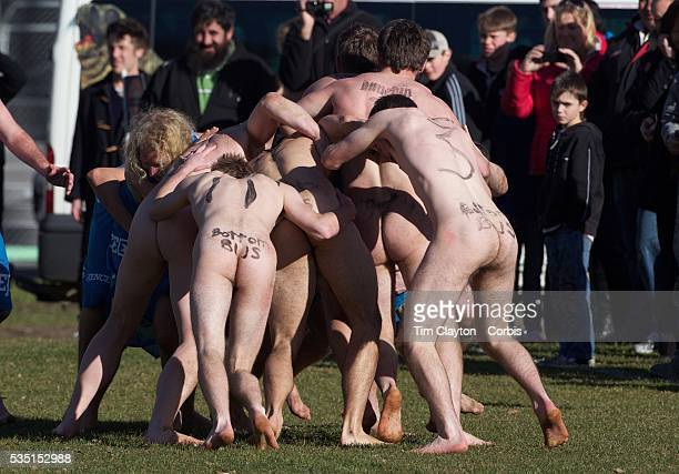 A scrum is contested during the 'Nude Blacks' versus a Fijian invitation side played at Logan Park Dunedin as an unofficial curtain raiser match...