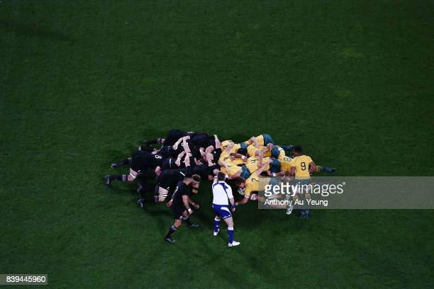 A scrum is formed during The Rugby Championship Bledisloe Cup match between the New Zealand All Blacks and the Australia Wallabies at Forsyth Barr...