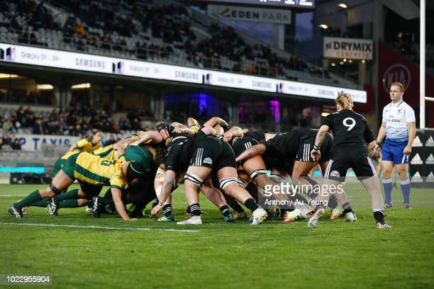 A scrum is packed during the International Test match between the New Zealand Black Ferns and the Australia Wallaroos at Eden Park on August 25 2018...