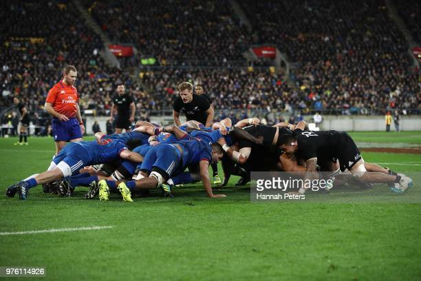 A scrum packs down during the International Test match between the New Zealand All Blacks and France at Westpac Stadium on June 16 2018 in Wellington...