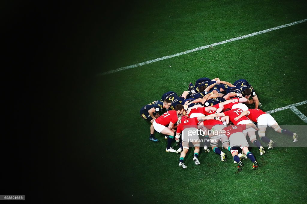 A scrum packs down during the match between the Highlanders and the British & Irish Lions at Forsyth Barr Stadium on June 13, 2017 in Dunedin, New Zealand.