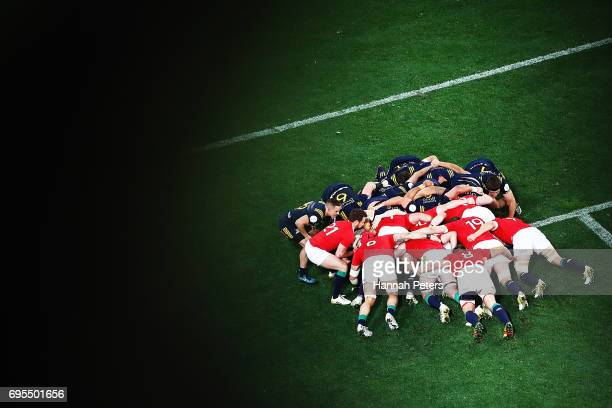 A scrum packs down during the match between the Highlanders and the British Irish Lions at Forsyth Barr Stadium on June 13 2017 in Dunedin New Zealand