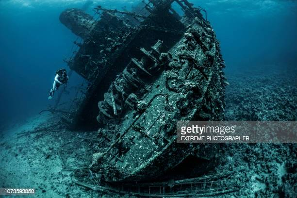 scuba diver exploring a shipwreck underwater in the red sea - sunken stock pictures, royalty-free photos & images