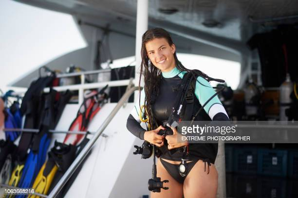 scuba diver girl - bottomless girl stock pictures, royalty-free photos & images