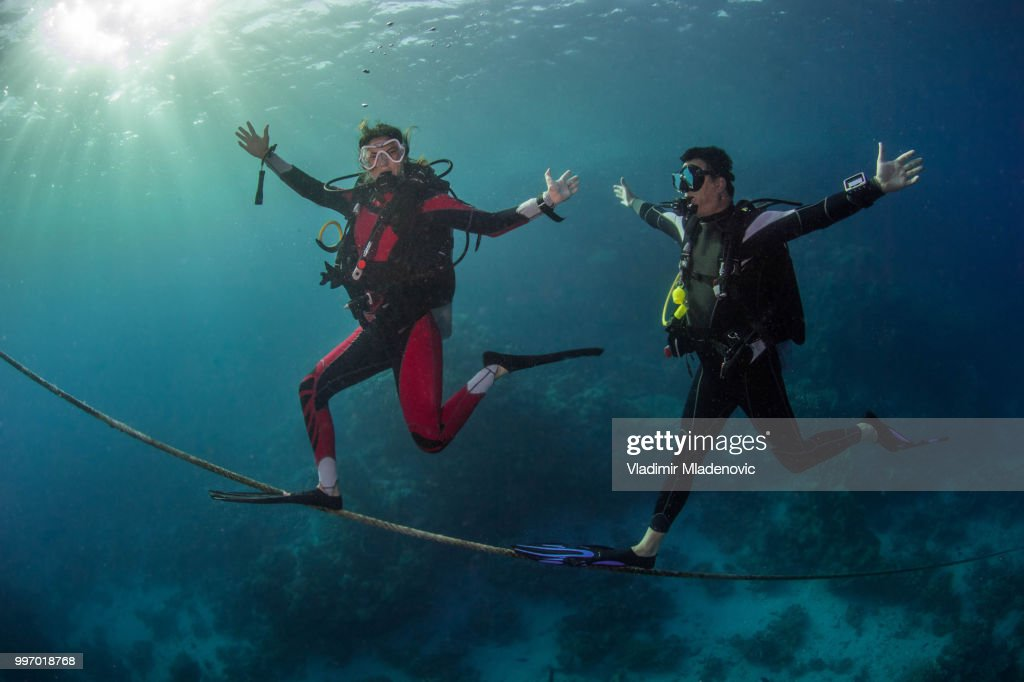 Scuba diver in natural environment : Stock Photo