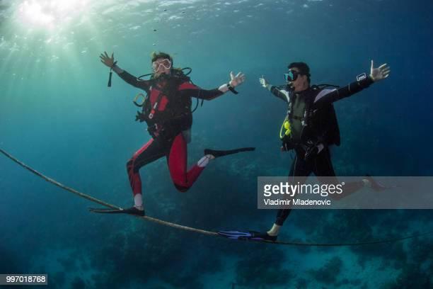 Scuba diver in natural environment