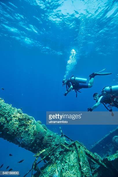 Scuba Diver  Over Shipwreck Ship mast  WRECK DIVING    Red Sea