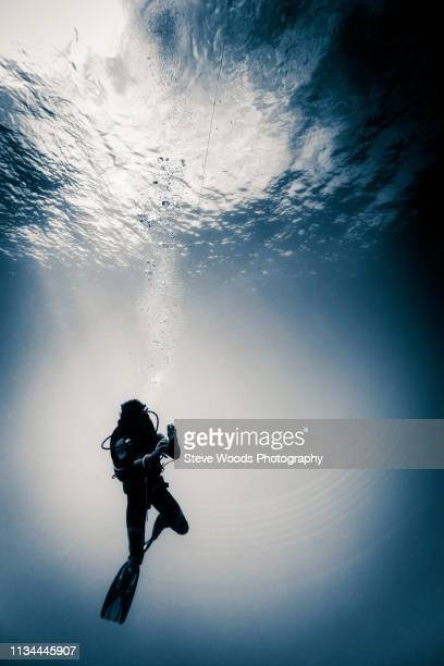 Scuba diver underwater doing a safety decompression stop, Lombok, Indonesia